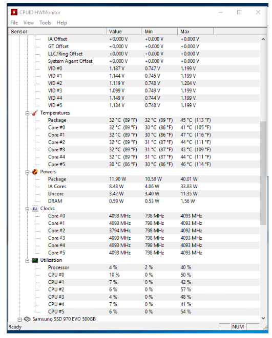 CPUID HWMonitor system stress test tool