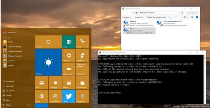 how to share internet from laptop windows 10